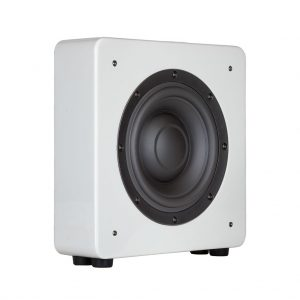 S10 Subwoofer angled view in white gloss